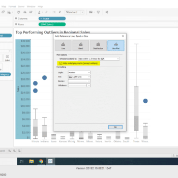 Box & Whisker Chart in Tableau to explore top-performing outliers in Regional Sales