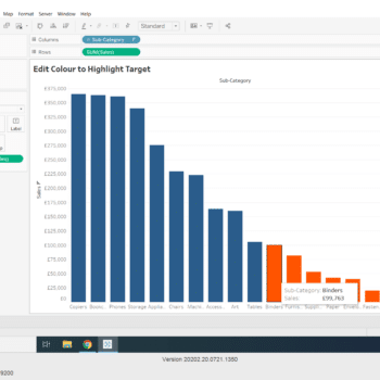 Use Colour to Highlight Target in Sales in Tableau