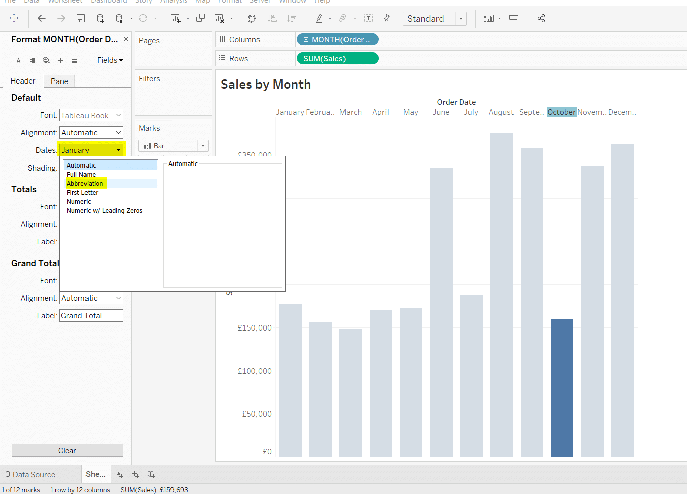 How do I abbreviate Month in Tableau?