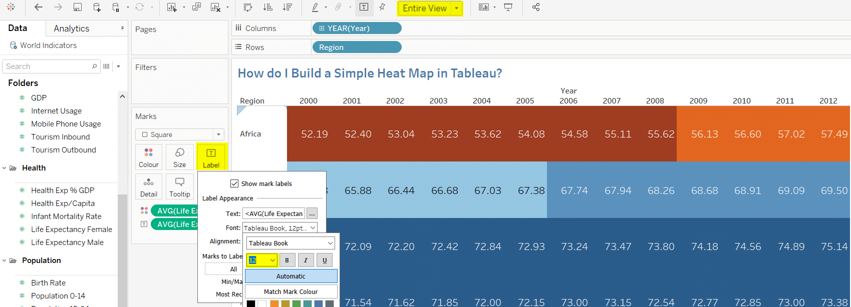 How do I build a Heatmap in Tableau?