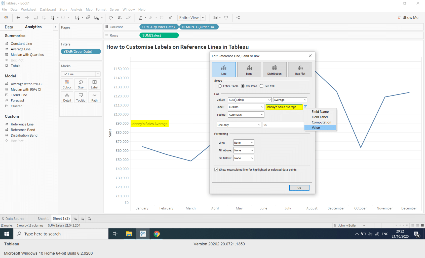 How do I Customise Labels on Reference Lines in Tableau?