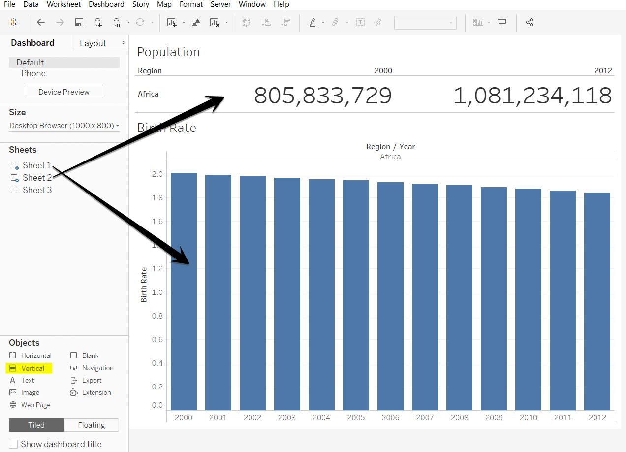How do I use Big Numbers on a Tableau Dashboard?