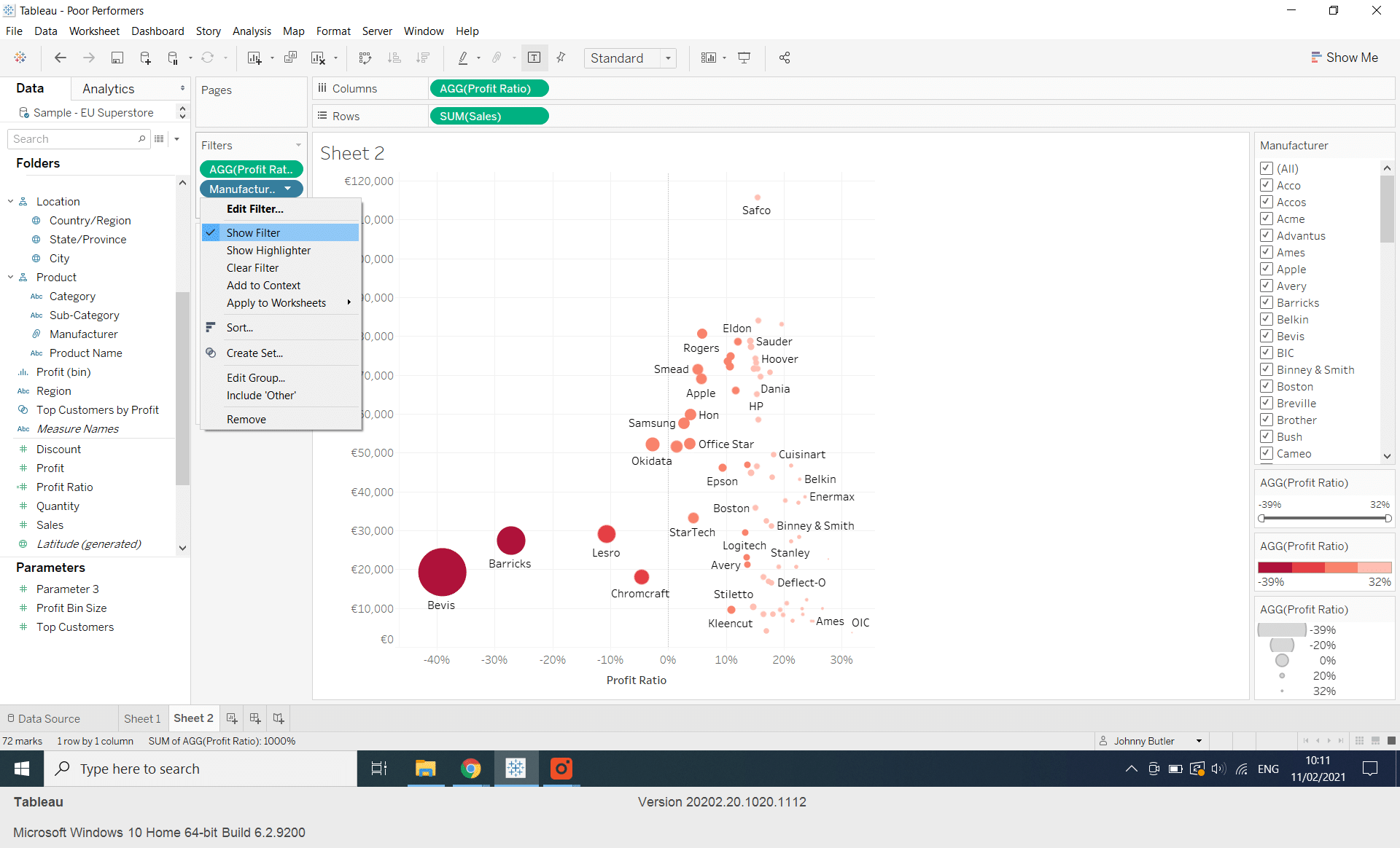 How do I build a Scatterplot in Tableau to Highlight Poor Performers?
