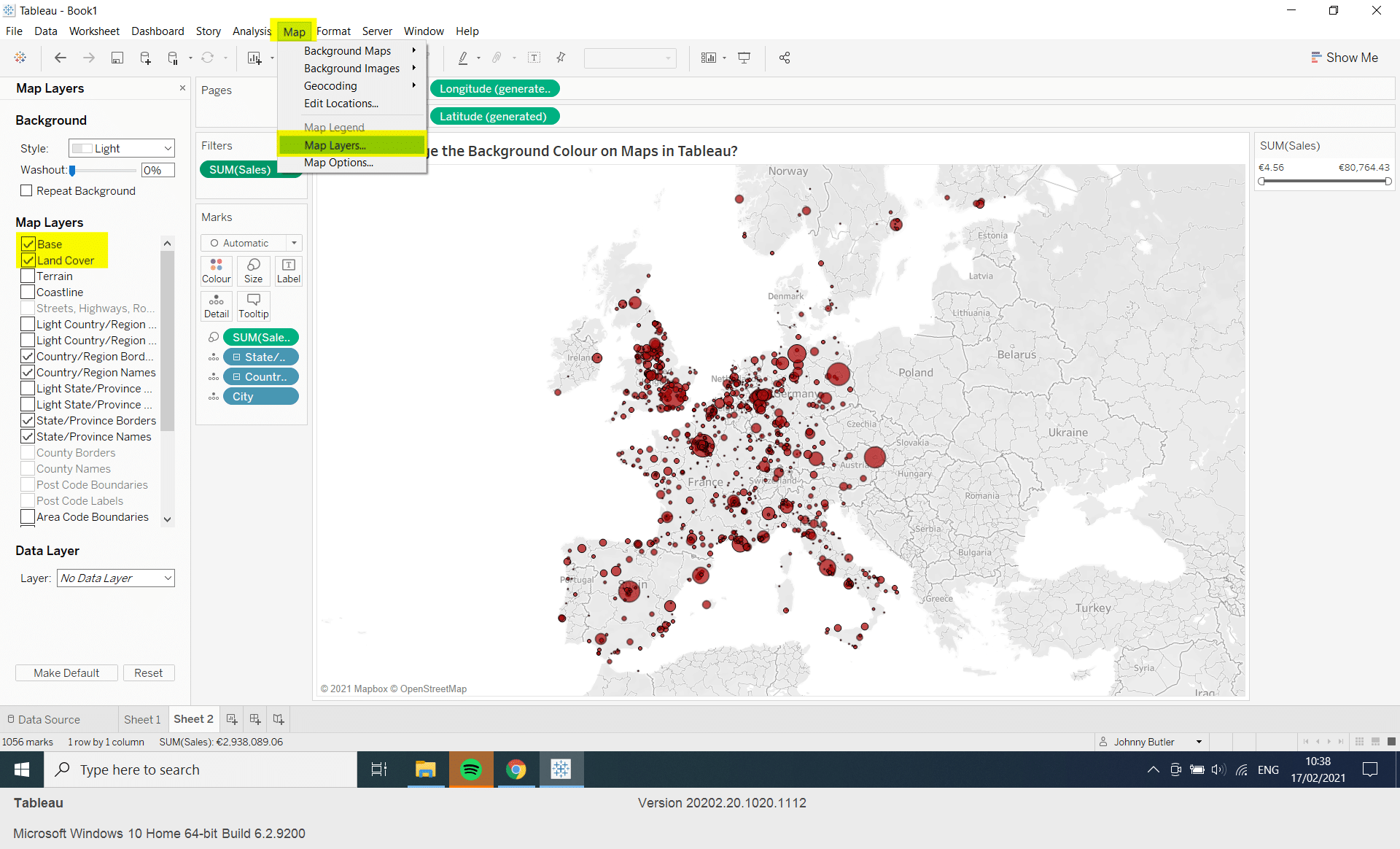 Change Background Colour on a Map in Tableau