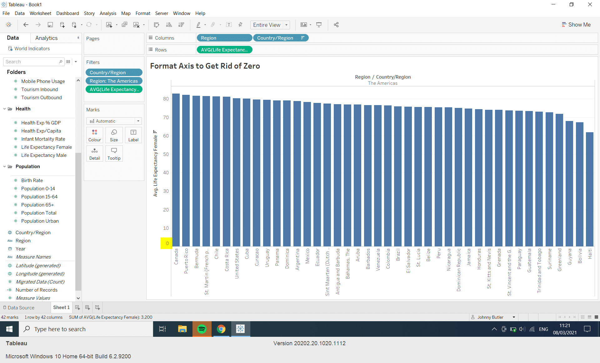 How can I remove Zero on my Axis in Tableau?
