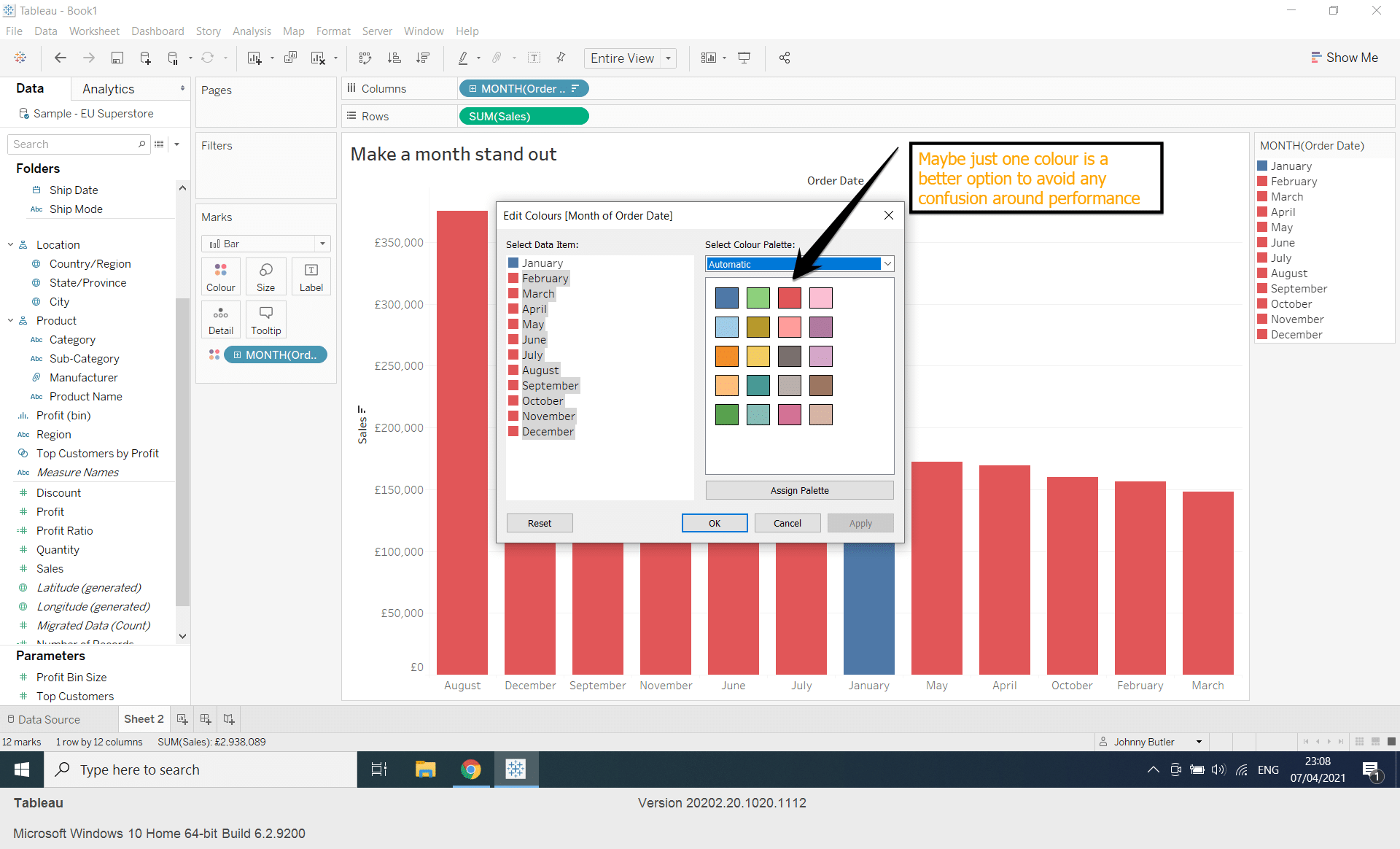 How can I change colour on individual bars in Tableau?