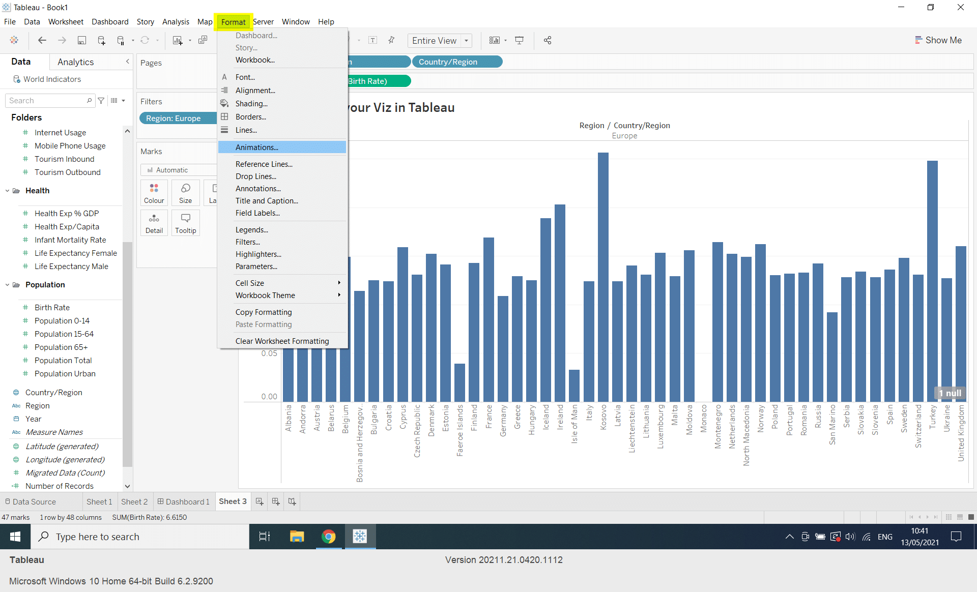 Animate a Visualisation in Tableau